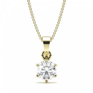 Round 1.00 SI2 D ABELINI 9K Yellow Gold 6 Prong Setting Round Solitaire Diamond Pendant