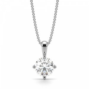 Round Solitaire Diamond Pendant White Gold / Platinum