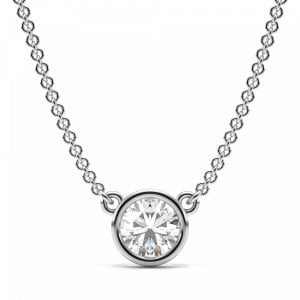 Round 0.50 VVS1 E ABELINI 950 Platinum Full Bezel Set Round Solitaire Diamond Pendant in White, Yellow, Rose Gold and Platinum