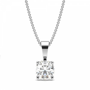 4 Claw Solid Bale Lab Grown Diamond Necklace