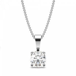 Round 0.80 I1 I ABELINI 18K White Gold Round Diamond Solitaire Diamond Necklace in Gold and Platinum