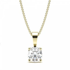 Round Diamond Solitaire Diamond Necklace in Gold and Platinum
