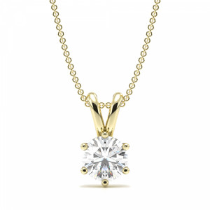 Round 0.70 VS2 F ABELINI 18K Yellow Gold Pendant Necklace for Women Round Solitaire Diamond Pendant