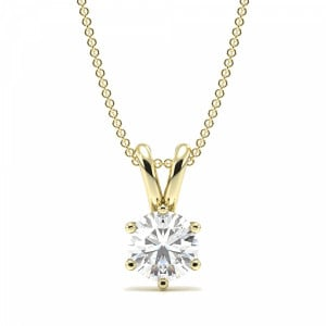 Round 0.70 VS2 F ABELINI 18K Yellow Gold Gold Pendant Necklace for Women Round Solitaire Diamond Pendant