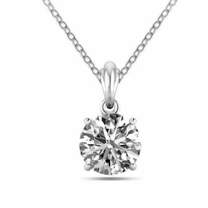 Round 1.00 I1 H ABELINI 9K White Gold Gold Necklace 18 Carat Round Solitaire Diamond Pendant