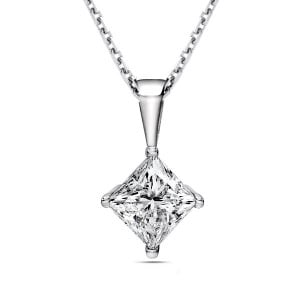 Princess 0.90 VS1 I ABELINI 18K White Gold Gold Chain Princess Solitaire Diamond Pendant Necklace