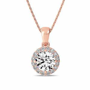 Round 0.70 VVS1 H ABELINI 18K Rose Gold Gold Pendant Necklace Solitaire Halo Diamond Pendant Necklace