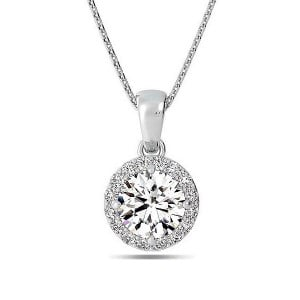 Round 0.70 VVS1 H ABELINI 18K White Gold Gold Pendant Necklace Solitaire Halo Diamond Pendant Necklace
