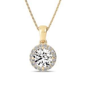 Gold Pendant Necklace Solitaire Halo Diamond Pendant Necklace