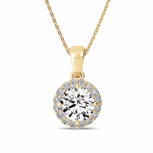 Round 0.70 VVS1 H ABELINI 18K Yellow Gold Gold Pendant Necklace Solitaire Halo Diamond Pendant Necklace