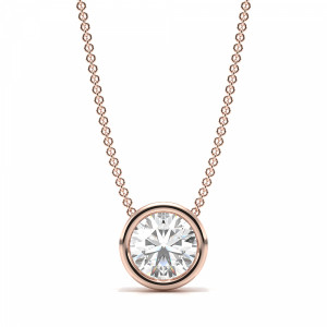 Full Bezel Prong Set Round Solitaire Diamond Pendant in Gold or Platinum