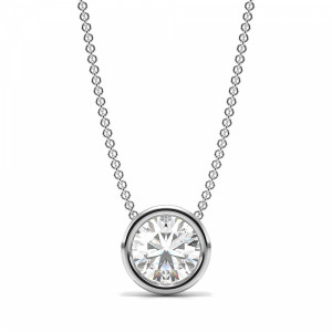 Full Bezel Set Round Solitaire Diamond Pendant in Gold or Platinum