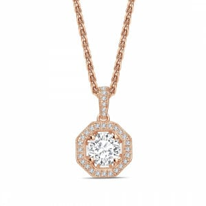 Round 1.00 SI2 H ABELINI 9K Rose Gold Octagon Shape Round Shape Halo Diamond Pendant Necklace