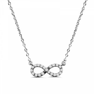 0.15Ct Infinity Diamond Necklace Pendant for Women (12X12Mm)