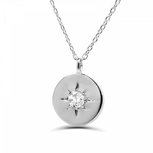 0.05Ct Circle Solitaire Diamond Necklace Pendant for Women (8X8Mm)