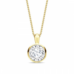 Round 0.65 I1 D ABELINI 9K Yellow Gold Bezel Set Solid Bale Round Shape Solitaire Diamond Necklace