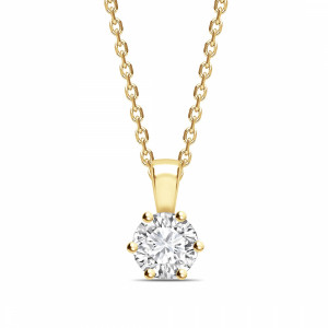 Round 0.65 I1 D ABELINI 9K Yellow Gold Flower Style Setting Round Shape Solitaire Diamond Necklace
