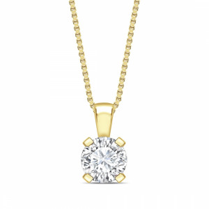 Square Shape Claws Round Shape Solitaire Diamond Necklace