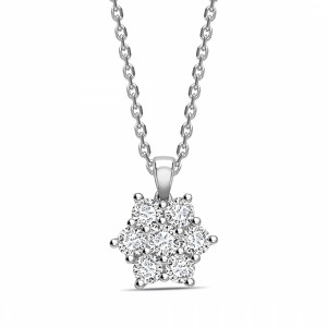 7 Diamonds Star Cluster Round Shape Cluster Diamond Pendant Necklace