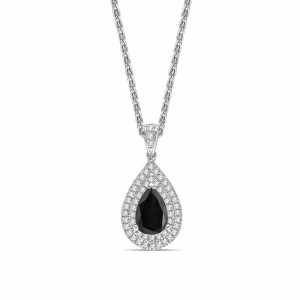 Pear Shape Halo Style Black Diamond Solitaire Pendants Necklace