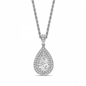Double Raw Dangling Pear Shape Halo Diamond Pendant