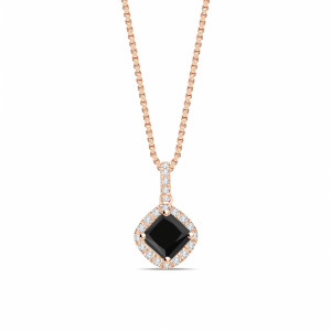 Smooth Corner Princess Cut Halo Black Diamond Solitaire Pendants Necklace