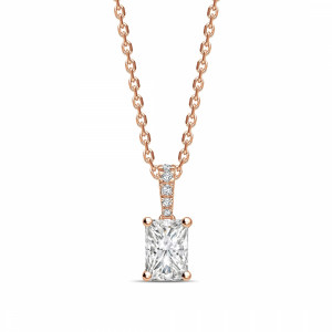 Diamond Set Bale Dangling Radiant Shape Solitaire Diamond Necklace
