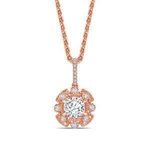 Round 0.60 IF I ABELINI 9K Rose Gold Vintage Style Round Shape Halo Diamond Necklace