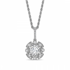 Round 0.60 IF I ABELINI 9K White Gold Vintage Style Round Shape Halo Diamond Necklace