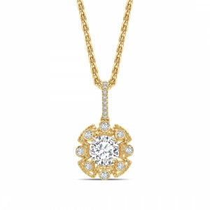 Round 0.60 IF I ABELINI 9K Yellow Gold Vintage Style Round Shape Halo Diamond Necklace