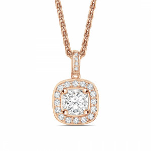 Princess 0.65 VVS2 F ABELINI 18K Rose Gold Pave Set Princess Shape Halo Diamond Necklace