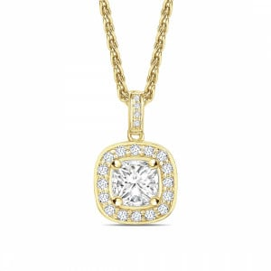 Princess 1.10 SI2 F ABELINI 18K Yellow Gold Pave Set Princess Shape Halo Diamond Necklace