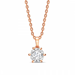 Round 0.65 I1 D ABELINI 9K Rose Gold Crown Style Setting Dangling Round Shape Solitaire Diamond Necklace