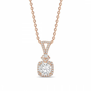 Princess 0.80 I1 H ABELINI 18K Rose Gold Modern Design Princess Shape Halo Diamond Necklace