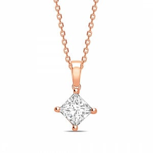 N-W-E-S Dangling Princess Shape Solitaire Diamond Necklace