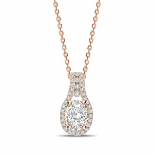 Oval 0.90 I1 I ABELINI 9K Rose Gold Designer Halo Oval Shape Halo Diamond Necklace