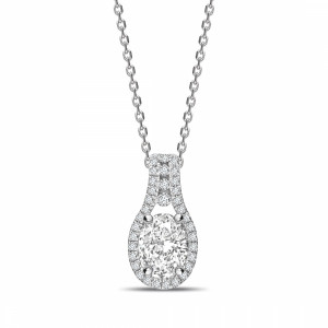 Oval 0.90 I1 I ABELINI 9K White Gold Designer Halo Oval Shape Halo Diamond Necklace