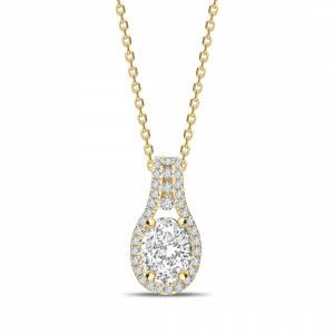 Oval 0.90 I1 I ABELINI 9K Yellow Gold Designer Halo Oval Shape Halo Diamond Necklace