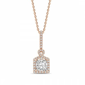 Princess 0.70 VVS2 F ABELINI 9K Rose Gold Unique Design Princess Shape Halo Diamond Necklace