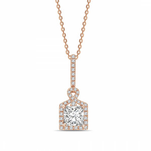 Princess 0.75 VVS1 H ABELINI 18K Rose Gold Unique Design Princess Shape Halo Diamond Necklace