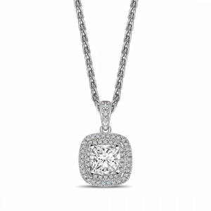 Double Raw Dangling Princess Shape Halo Diamond Necklace