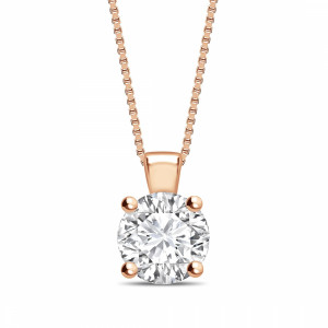 Round 0.65 I1 D ABELINI 9K Rose Gold Solid Bale N-W-E-S Round Shape Solitaire Diamond Necklace
