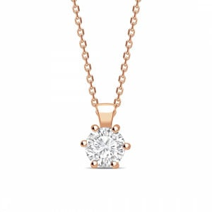 Round 0.65 I1 D ABELINI 9K Rose Gold Open 6 Claws Round Shape Solitaire Diamond Necklace