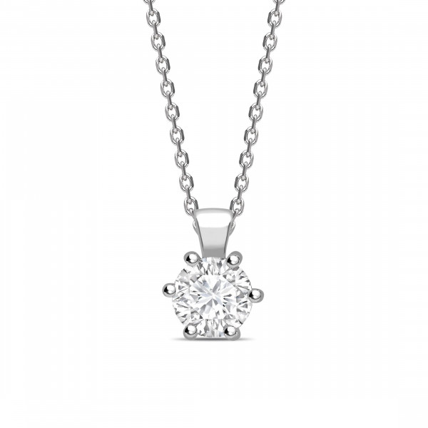 Open 6 Claws Round Shape Solitaire Diamond Necklace