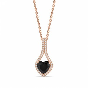 Heart Shape Designer Black Diamond Solitaire Pendants Necklace
