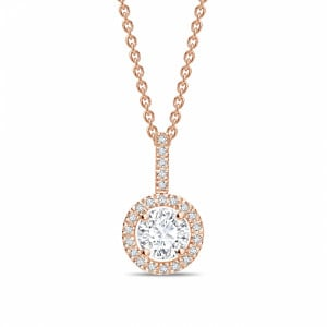 Classic Popular Style Round Shape Solitaire Diamond Necklace