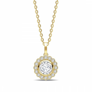 Round 0.55 VVS1 E ABELINI 18K Yellow Gold Miligrain Vintage Style Round Shape Halo Diamond Necklace