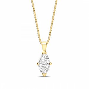 Marquise 0.65 VVS1 H ABELINI 18K Yellow Gold Classic Popular Style Marquise Shape Solitaire Diamond Necklace