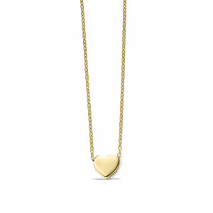 ABELINI 18K Yellow Gold Plain Gold Personalise Heart Charm Necklace Pendant (6.5mm X 6.9mm)