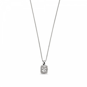 Diamond and White Topaz Halo Diamond Pendant Necklace (15mm X 7.5mm)